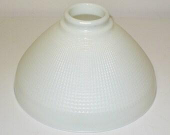 "10"" Milk Glass Diffuser Shade 3"" Fitter Horizontal Ribs"