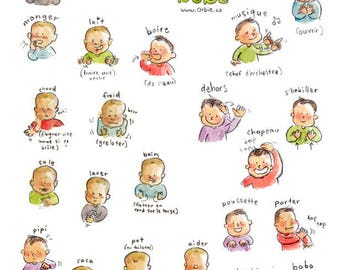 Baby sign language poster (PRINTABLE) French and English