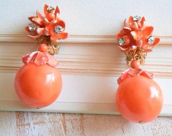 Vintage 1950's Orange Floral Dangle Earrings | Metal Enamel Clip On Earrings