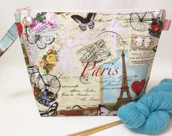 Medium Wide-Mouth Wedge Bag with Organizer Pockets - Love, Paris