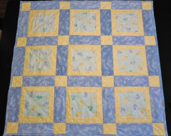 Rubber Ducks Flannel Window Block Quilt Accented with Blue, & Yellow