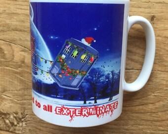 Doctor Who Daleks and Tardis Santas Sleigh  Mug