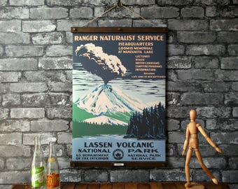 WPA Lassen Volcanic National Park / Vintage Pull Down Reproduction / Canvas Fabric or Paper Print / Oak Wood Hangers with Brass Hardware