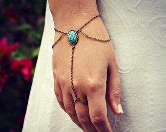 VACATION SALE turquoise drape slave bracelet, bracelet ring, ring bracelet, boho bracelet, hipster bracelet, slave ring