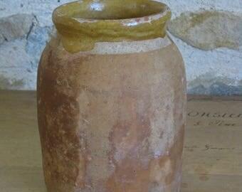 French rustic earthenware pot, small terracotta pot for confit de canard