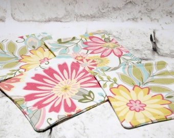 Pink & Yellow Floral Print Coasters, Set of 4