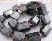 Sale Bold Black TOURMALINE and Red leather knotted necklace
