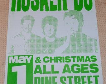 Rare 80's 90's Husker Du Portland Oregon Original Concert Poster Vintage Punk Rock Black Flag Dead Kennedys Minor Threat