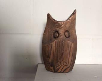 Vintage Hand-Carved Wooden Owl