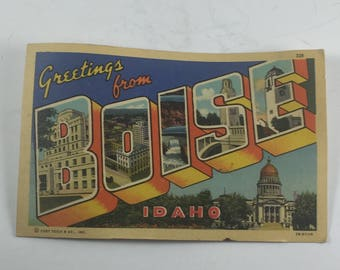 """1940s """"Greetings From Boise"""" Postcard, Unposted"""
