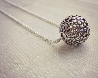 Flower Ball Necklace - Silver Necklace - Layering Necklace - Statement Necklace - Simple Boho Necklace - Long Necklace - Sweater Necklace