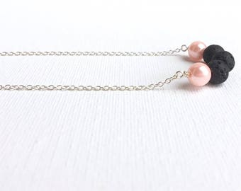 Lava Bar Pendant Necklace • Lava Stone Necklace • Essential Oil • Aromatherapy Jewelry • Lava Bead Necklace • Geometric Lava Necklace