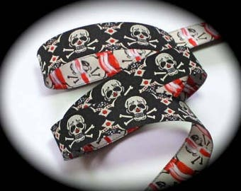 """Jacquard Ribbon -5/8"""" x 10 yds Skull and Crossbones - Tribal in Black, Red and Cream"""