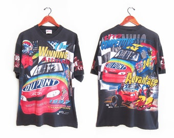 vintage t shirt / NASCAR t shirt / Jeff Gordon shirt / 1990s Jeff Gordon all over print NASCAR t shirt Large