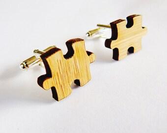 FIVE PAIRS of cufflinks - groomsmen cuff links - Wedding Cufflinks - gifts for men wood - puzzle piece cufflinks