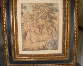 10% OFF Vintage Framed Renaissance Tapestry, Gold and Black Wood Frame, Middle Ages Art