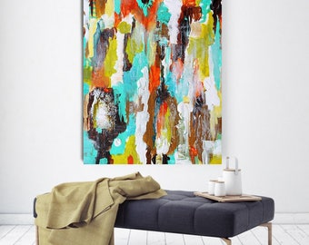 "Shining, Extra Large Abstract Colorful Canvas Art Print up to 78"" by Irena Orlov"