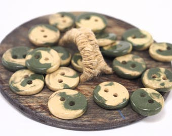 Handcrafted ceramic buttons,Small buttons,Clay buttons,Knitting buttons,Sewing supplies,Unique buttons,Round buttons,Colorful buttons