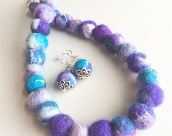 Felted Bead Necklace with Earrings Purple Turquoise Blue Necklace Felt Ball Necklaces Jewelry for Her Wool Felt Necklace by Felt&Gem