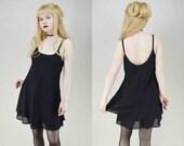 90s Grunge Goth Black Double Layer Semi Sheer Babydoll Mini Dress S