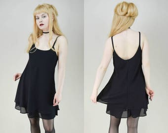 90s Grunge Goth Black Double Layer Semi Sheer Babydoll Mini Dress S