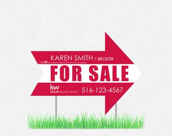 """arrow shaped yard sign - 18"""" x 24"""" lawn sign - full color both sides - FREE design and UPS ground shipping"""