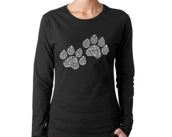 Women's Long Sleeve T-Shirt - Dog Paw Prints created out of the Word Woof