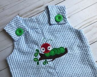 caterpillar romper/ caterpillar sunsuit/ caterpillar jon jon/ personalized caterpillar romper