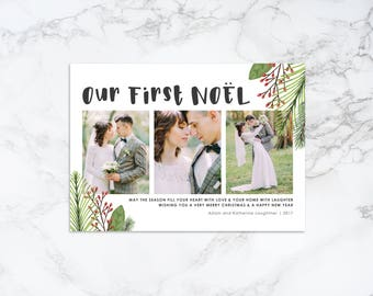Printable Watercolor Elements Rustic Holiday/Christmas Our First Noel Newlyweds Photo Card