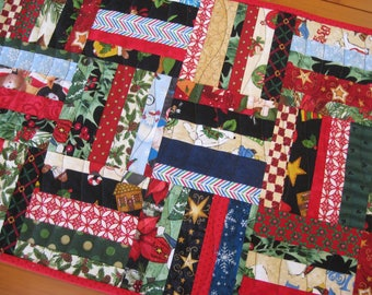 Quilted Table Runner, Scrappy Winter/Holiday 5-Rail String Blocks FREE SHIPPING