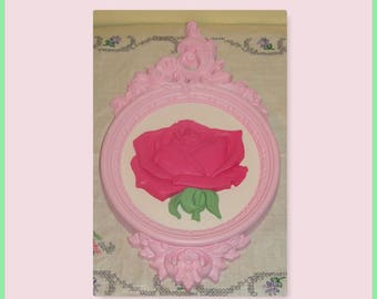 Vintage Homco Upcycled Hand Painted Pink Shabby Rose Wall Decor Plaque Home Accent
