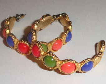 Large Gold Tone Multi Color Cabochon Etruscan Style Pierced Hoop Earrings