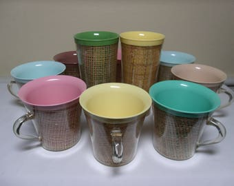 Set 10 Vintage Raffia Ware Cups Mugs Tumblers Pastel Melamine Rattan  Insulated 1950's 1960's Garden Patio Mid Century