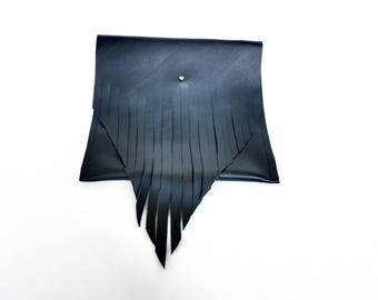 Black Leather Fringe Hip Pouch/Clutch