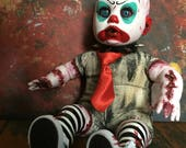 Handmade doll horror zombie creepy ooak clown punk