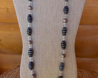 31 Inch Ethnic Bohemian African and Indonesian Black and White Glass Bead Necklace with Earrings