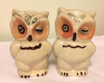 Vintage Owls Salt and Pepper Shakers - Ceramic