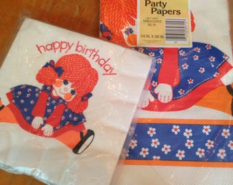 vintage NOS deadstock paper tablecloth and napkin set birthday girl yarn doll