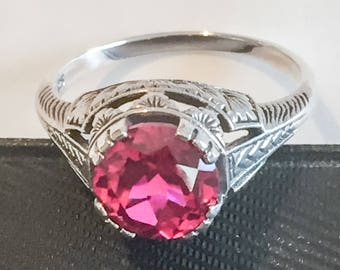 Ruby Ring, Sterling Silver, Art Deco Revival Vintage Jewelry SUMMER SALE