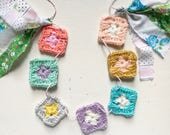 Mini Granny Square Garland/ Granny Squares Banner With Vintage Fabric Strips