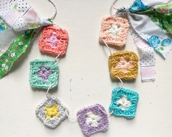 Rainbow Crochet Hearts Garland/ Rainbow Heart Banner With Black + White Twine