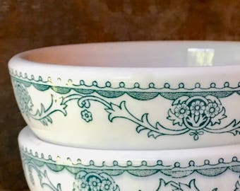 Chili or Soup Bowls, Marion Teal Transferware for Horn & Hardart by Mayer China, 1951