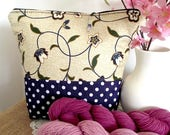 Knitting Project Bag, Floral Polkadots knitting zippered bag medium-large project bag shawl project bag crochet  gift for knitters #12