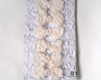 Ivory BOW -  Newborn Photography Props - Headband tieback