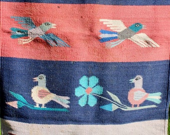 Vintage Zapotec Handwoven Rug Wool Oaxaca Mexico Indian Red Blue Birds Primitive Moth Damage AS IS