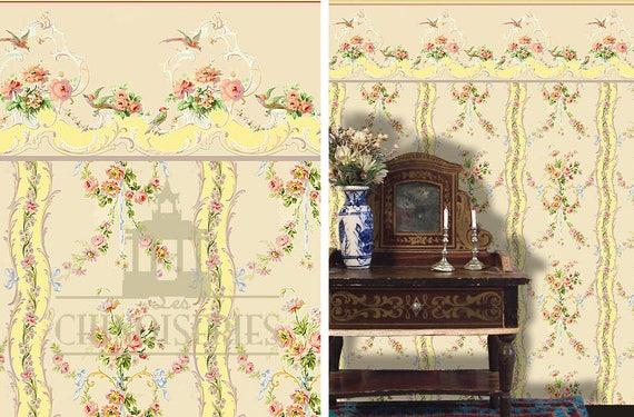 Dollhouse Miniature Wallpaper, Melanie, Scale One Inch