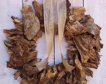 "Fall Wreath-Driftwood Wreath-Rustic Home Decor-Fall Front Door Wreath-Beach Wreath-Woodland Wreath-Cabin Wreath-20"" CEDAR DRIFTWOOD WREATH"