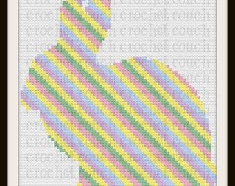 Bunny Stripe Afghan, C2C Graph, Crochet Pattern, Written Word Chart