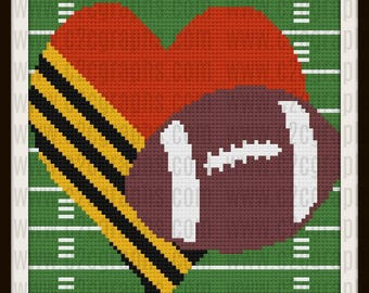 Love Football in color Afghan, C2C Graph, Crochet Pattern