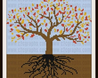 Tree of Life Autumn 2 Afghan, C2C Graph, Written Word Chart, Crochet Pattern